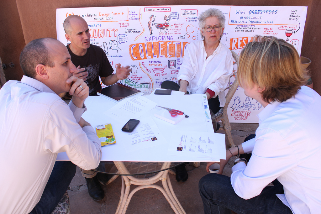 Discussing the future of exhibit design: a photograph from the Open Exhibits Design Summit in Corrales, NM held in March of 2011. This conference helped inspire the HCI+ISE gathering.